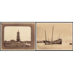 China, Photographs of Pagoda and Chinese Junk Ship ca.1870-90 Albumen Prints.