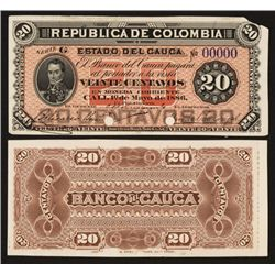 Banco Del Cauca, 1886 Issue Proof Banknote.