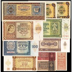 Croatia Banknote Issue Assortment.