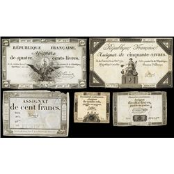 Republique Francaise, 1792 Issue Assignat Assortment.