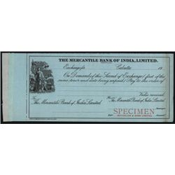 Mercantile Bank of India, Limited, Waterlow & Son Specimen Bill of Exchange.