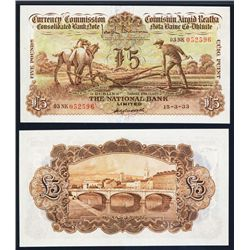 Currency Commission, National Bank, Ltd, ÒPLOWMANÓ £5 1933 Issue Banknote