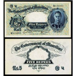Government of Mauritius, ND (1937) 5 Rupees Issued Banknote.