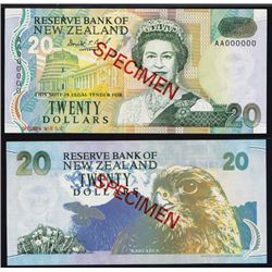 Reserve Bank of New Zealand, $20 ND 1992 Issue Specimen Banknote.