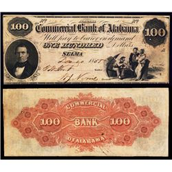 Commercial Bank of Alabama, $100 1858 Obsolete Banknote.