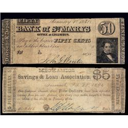 Bank of St. Mary's (ca.1842) - Mechanics Savings & Loan Association (ca.1864) Printed Back to Back
