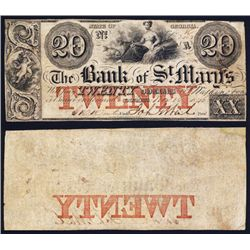 Georgia, Bank of St. Mary's, $20, Issued Obsolete Banknote.