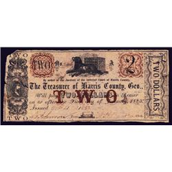 Treasurer of Harris County, Geo. Obsolete Banknote.