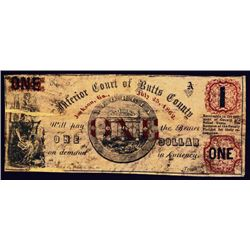 Inferior Court of Butts County, 1862 Obsolete Banknote.