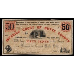Inferior Court of Butts County, 1862 Obsolete Scrip Note.
