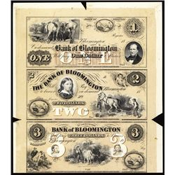 Bank of Bloomington Uncut Sheet of 3 Proprietary Proofs.