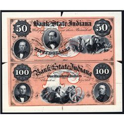 Bank of the State of Indiana Uncut Proprietary Sheet of 2 Proofs.