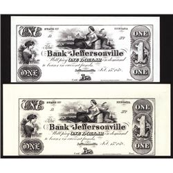 Bank of Jeffersonville $1 Proprietary Proof Banknote Pair on Different Colored Paper.
