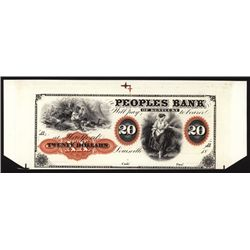 Peoples Bank of Kentucky $20 Proprietary Proof