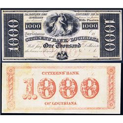 Citizens' Bank of Louisiana, $1000 Obsolete.