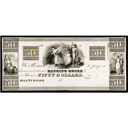 Baltimore, J.I. Cohen &amp; Brothers, Obsolete Proof Banknote &#210;Maryland Plate Note&#211;.