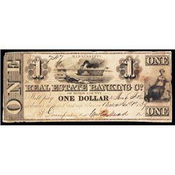 Real Estate Banking co. of Hinds county, 1839 Obsolete Banknote.