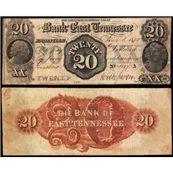 Bank of East Tennessee, 1855 Obsolete banknote Payable at Jonesboro.