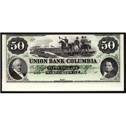 Union Bank of Columbia $50 Green Tinted Proprietary Proof