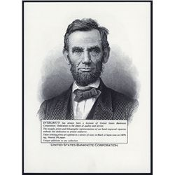 United States Banknote Corp. Advertising Piece with Large Lincoln Litho Portraits.