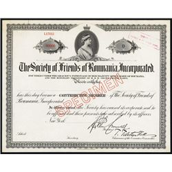 ÒSociety of Friends of RomaniaÓ Specimen Certificate.