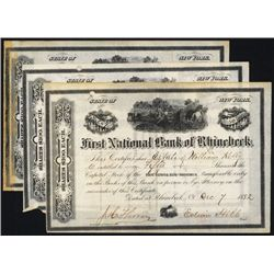 First National Bank of Rhinebeck, 1884, Issued Stock, Lot of 3.