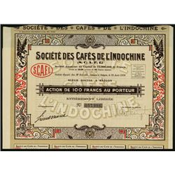 Societe des Cafes de L' Indochine Issued Bond.