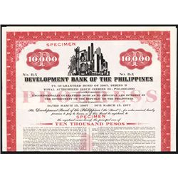 Development Bank of the Philippines Specimen Bond.