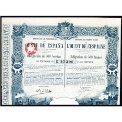 Compania De Los Ferrocarriles Del Oeste De Espana Issued Bond.
