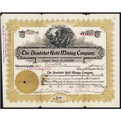 Deadshot Gold Mining Co. 1903 Cripple Creek Issued Stock Certificate.