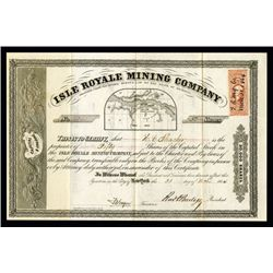 Isle Royale Mining Company, 1864 Issued Michigan Stock Certificate.