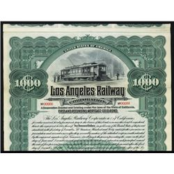 Los Angeles Railway Corp. Specimen Bond.
