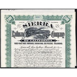 Sierra Railroad Co. 1897 Issued Bond.