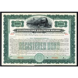 Colorado and Southern Railway Co. Specimen Bond.