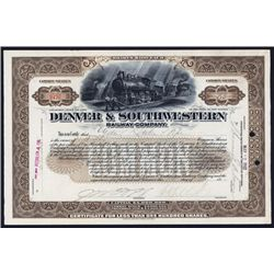 Denver & Southwestern Railway Co. 1902 Issued Stock Certificate.