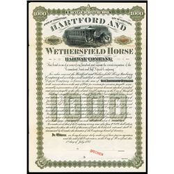 Hartford and Wethersfield Horse Railway Co., 1893, Specimen Bond.