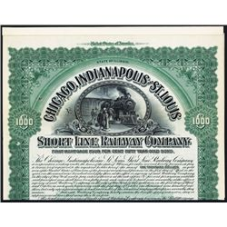 Chicago, Indianapolis and St. Louis Short Line Railway Co. Specimen Bond.