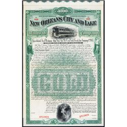 New Orleans City and Lake Railroad Co. Specimen Bond.