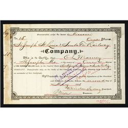 St. Joseph St. Louis & Santa Fe Railway Issued Stock.