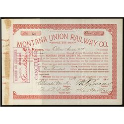 Montana Union Railway Co. Issued Stock.