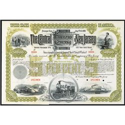 Central of New Jersey Railroad Co. 1887, Specimen Bond.