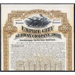 Empire City Subway Co., 1892, Specimen Bond.