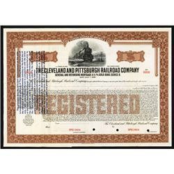 Cleveland and Pittsburgh Railroad Co. Specimen Bond With Rare 1933 Gold Clause.