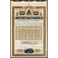 James River Valley Railroad Co. Specimen Bond.