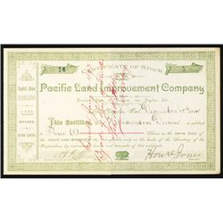 Pacific Land Improvement Co. 1887 Issued Los Angeles Stock Certificate.