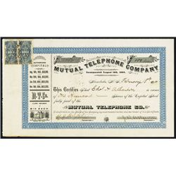 Mutual Telephone Co., 1907 Issued Stock Certificate with 2 Hawaiian Revenue Stamps.