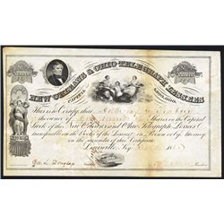 New Orleans & Ohio Telegraph Lessees 1858 Issued Stock Certificate.