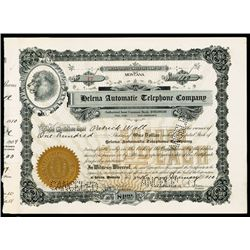 Billings and Musselshell Telephone Co. 1899 Issued Stock Certificate.
