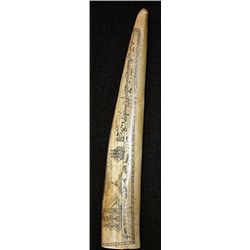 The Ship Sachem 1858-59. Genuine Whale tooth with Orante Hand carvings