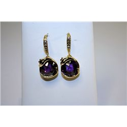 Fancy Style 14kt Yellow Gold Amethyst & Diamond Earrings